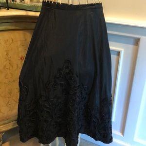 Onyx embroidered satin skirt